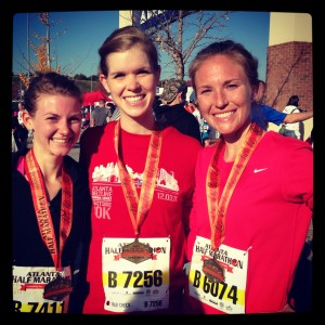 After crossing the finish line on Thanksgiving day - and PRing at 1:49.