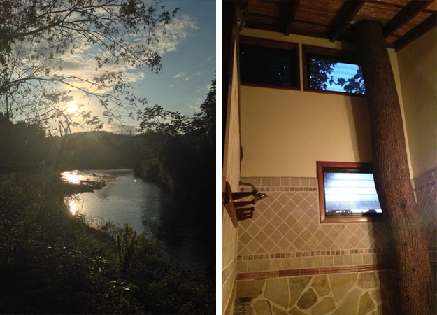 The view from the lodge and our indoor shower - with a live tree running through it.