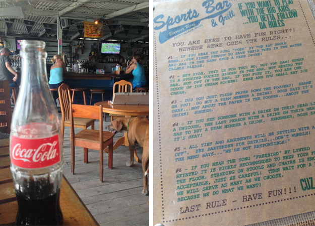 Lunch at the bar (pre-gametime) and the house rules